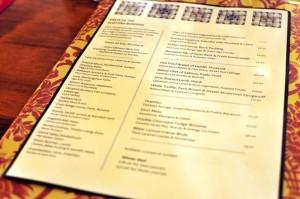 Carfraemill Dinner Menu