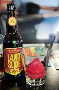 """Limited Edition """"Land Slide"""" beer with beer sorbet"""