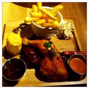 BBQ ribs and chicken combo Giraffe restaurant review silverburn tesco Glasgow food drink blog