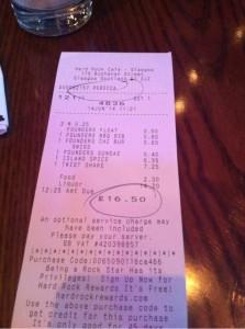 Receipt bill check Burger Menu HRC Queue public people customers Hard Rock Cafe Glasgow birthday food drink Glasgow blog