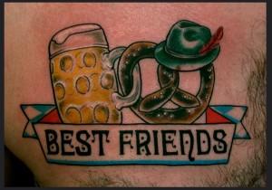 beer pretzel bretzel tattoo