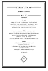 The Honours festive e menu Martin Wishart Malmaison Glasgow