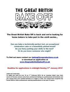 Great British bake off applications