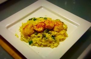 Eat fish scallop asparagus risotto recipe