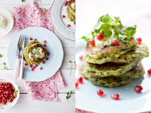 Green pancakes with lime and coriander butter