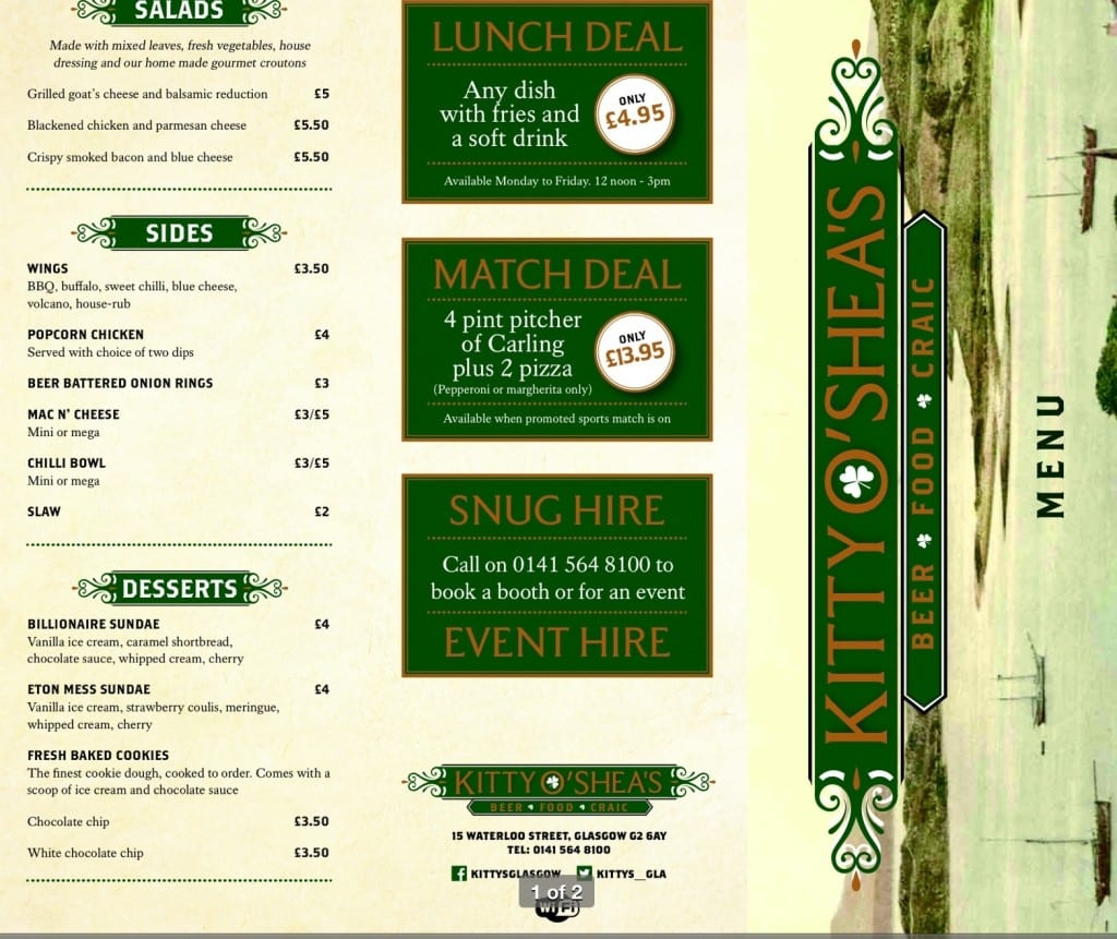 Kitty O'Shea's bar Waterloo street Glasgow menu