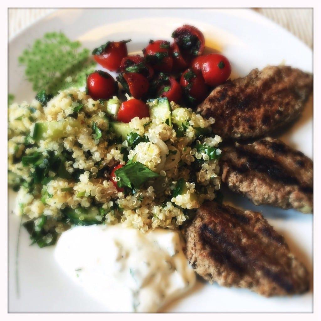 welsh lamb minty yoghurt herbed quinoa recipe