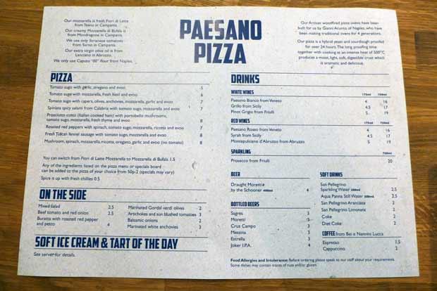 Paesano pizza - the menu