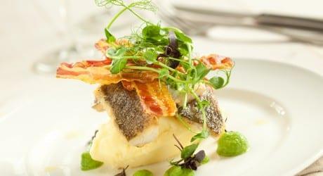 Pan-Fried-Sea-Bass-with-Crispy-Pancetta-and-Pea-Puree_Edinburgh cookery school glasgow foodie explorers food blog