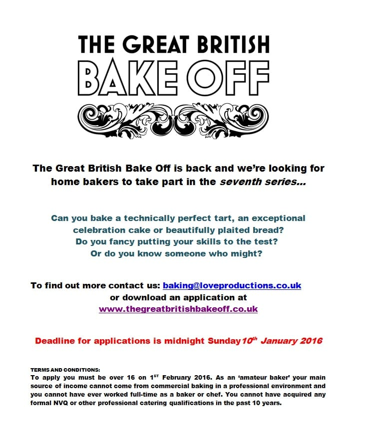 The Great British Bake Off Flyer in JPEG