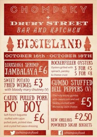 menu chompsky food pop up dixieland drury street glasgow