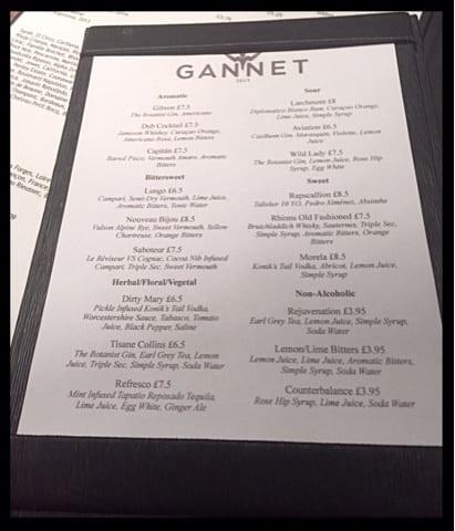 the gannet finnieston cocktail list