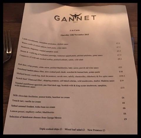 the gannet finnieston glasgow a la carte menu
