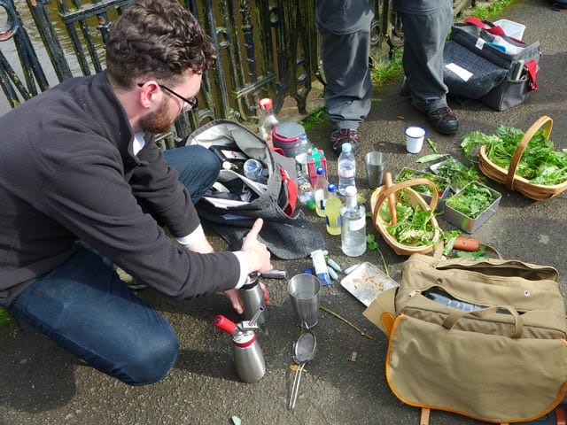 Glasgow gin club forage - impromptu tonic making in action