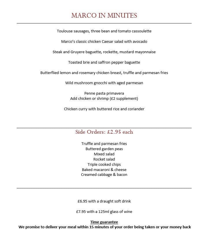 Now marco Pierre White Glasgow express lunch menu