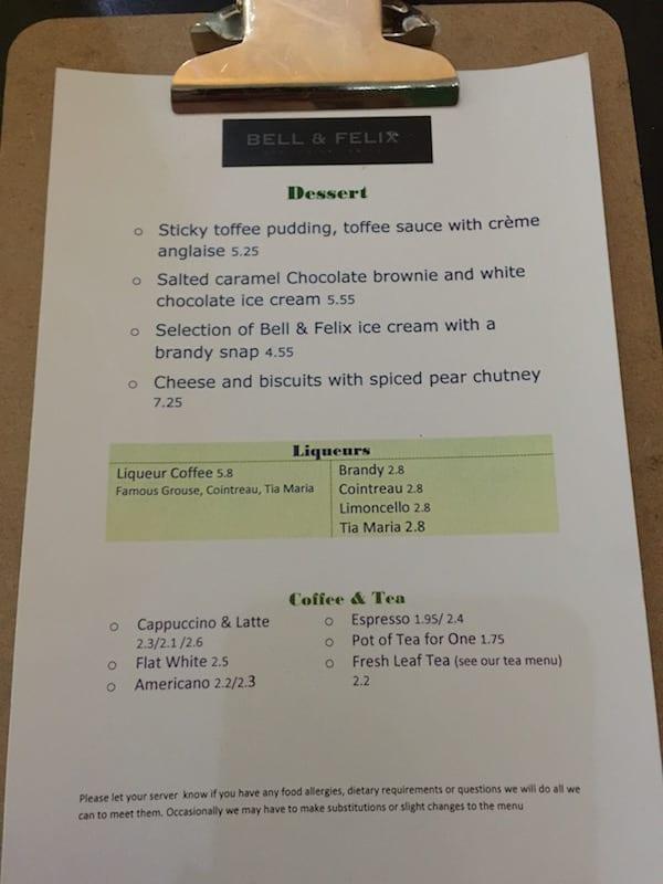 glasgow foodie explorers Bell_and_felix_dessert_menu
