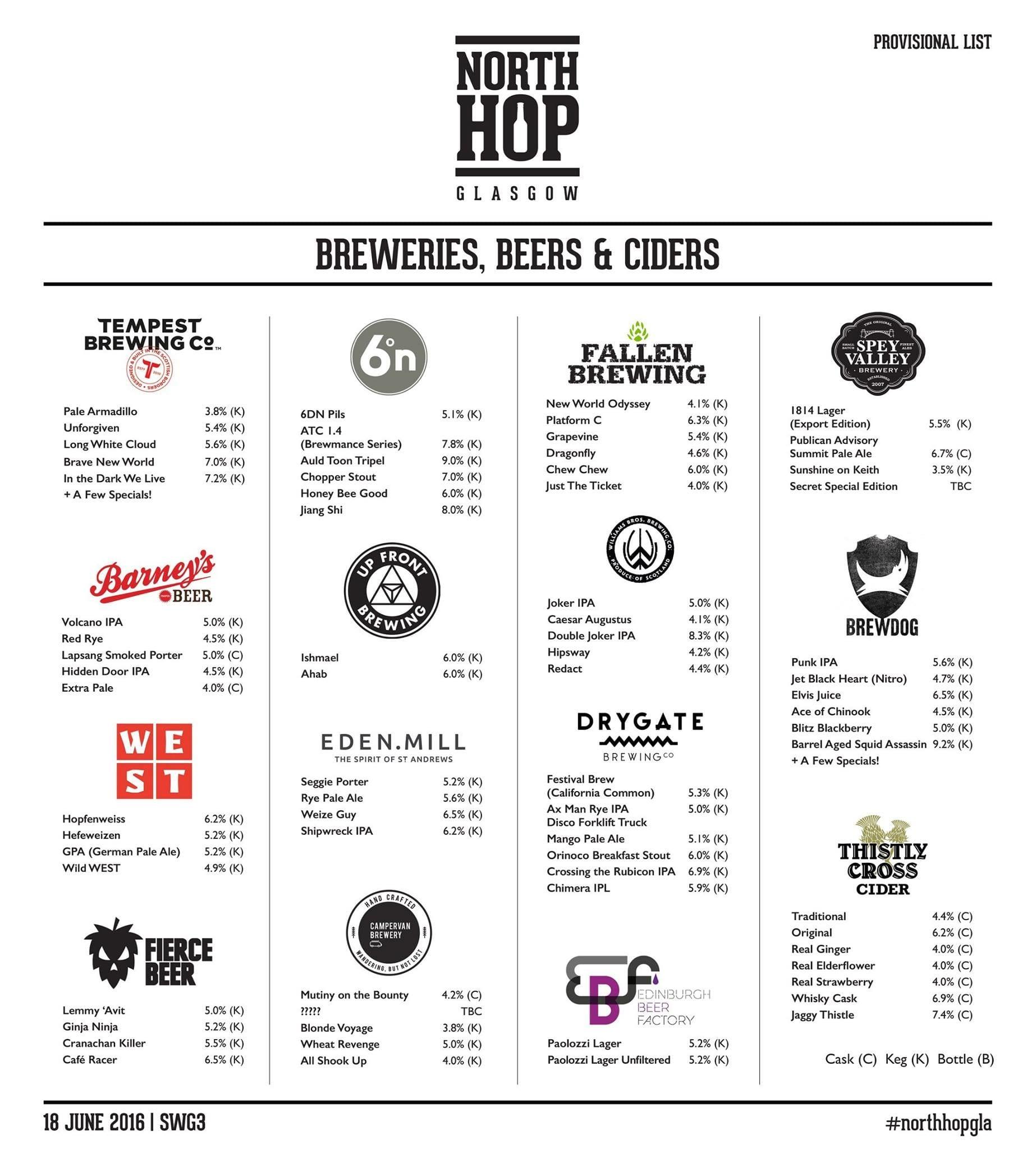 Northhop Glasgow beer list foodie explorers