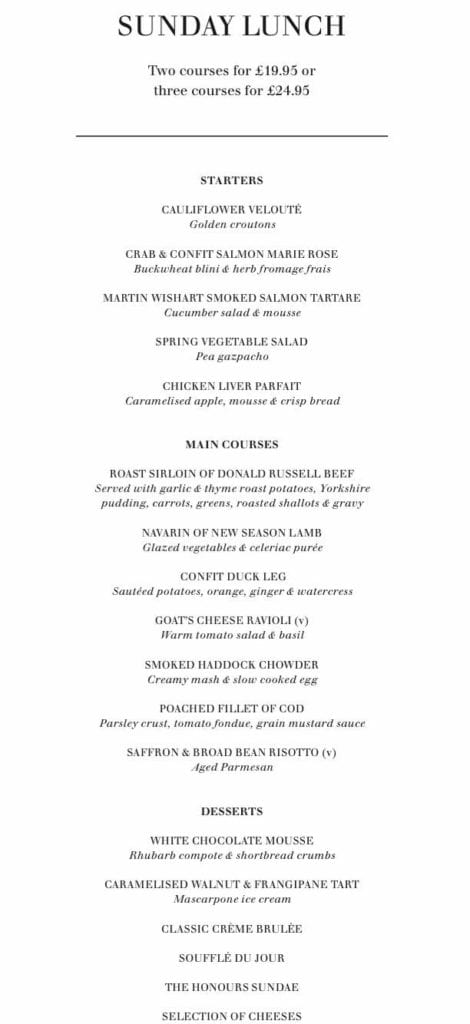 The honours Malmaison Glasgow foodie explorers sunday lunch menu
