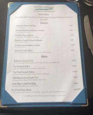Atholl Arms Dunkeld dinner menu