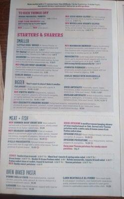 zizzi menu