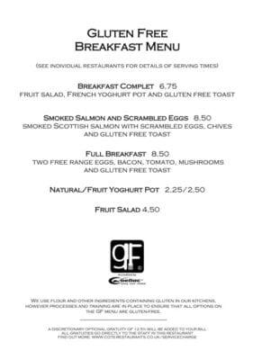 Gluten free Brunch cote brasserie Glasgow