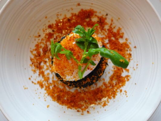 Stornoway black pudding, slow cooked duck egg and chorizo crumble