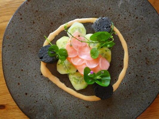 sea trout, brown crab, nero gnocchi, pickled cucumber