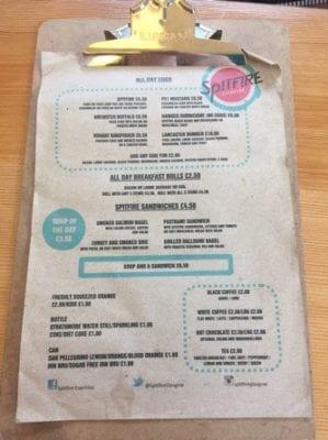 Spitfire coffee merchant city Glasgow menu