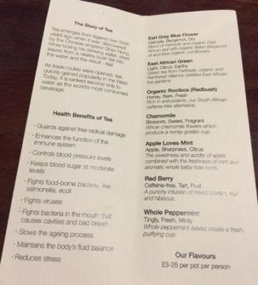 Victoria's Pitlochry cafe Tea menu