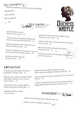 duchess of argyle menu