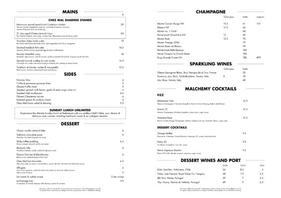 Menu Chez Mal glasgow Foodie explorers malmaison food blog