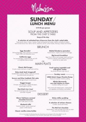 Sunday lunch brunch menu Chez Mal glasgow Foodie explorers malmaison food blog