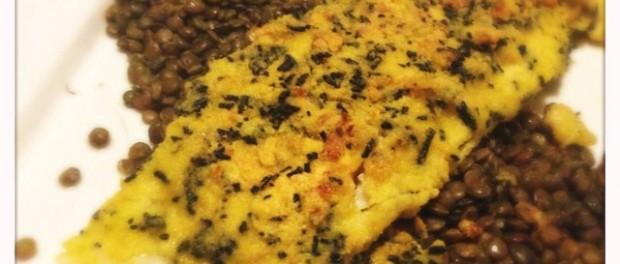 Fried Haddock Fillets with a Spirulina, Herb and Polenta Crust