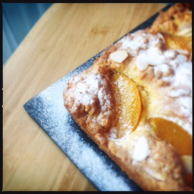 saffron peach cake