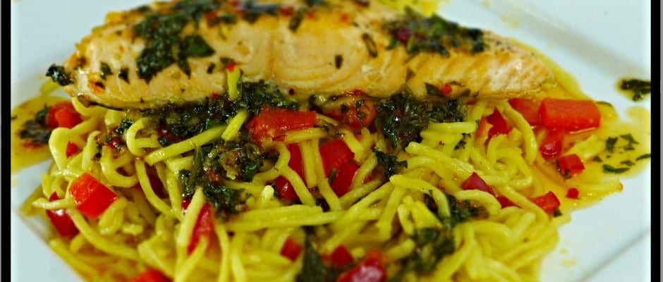 Scottish salmon on a bed of Asian ginger noodles finished with a sweet chilli and coriander butter