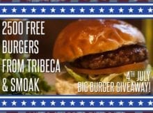Free burgers on 4th July at TriBeCa
