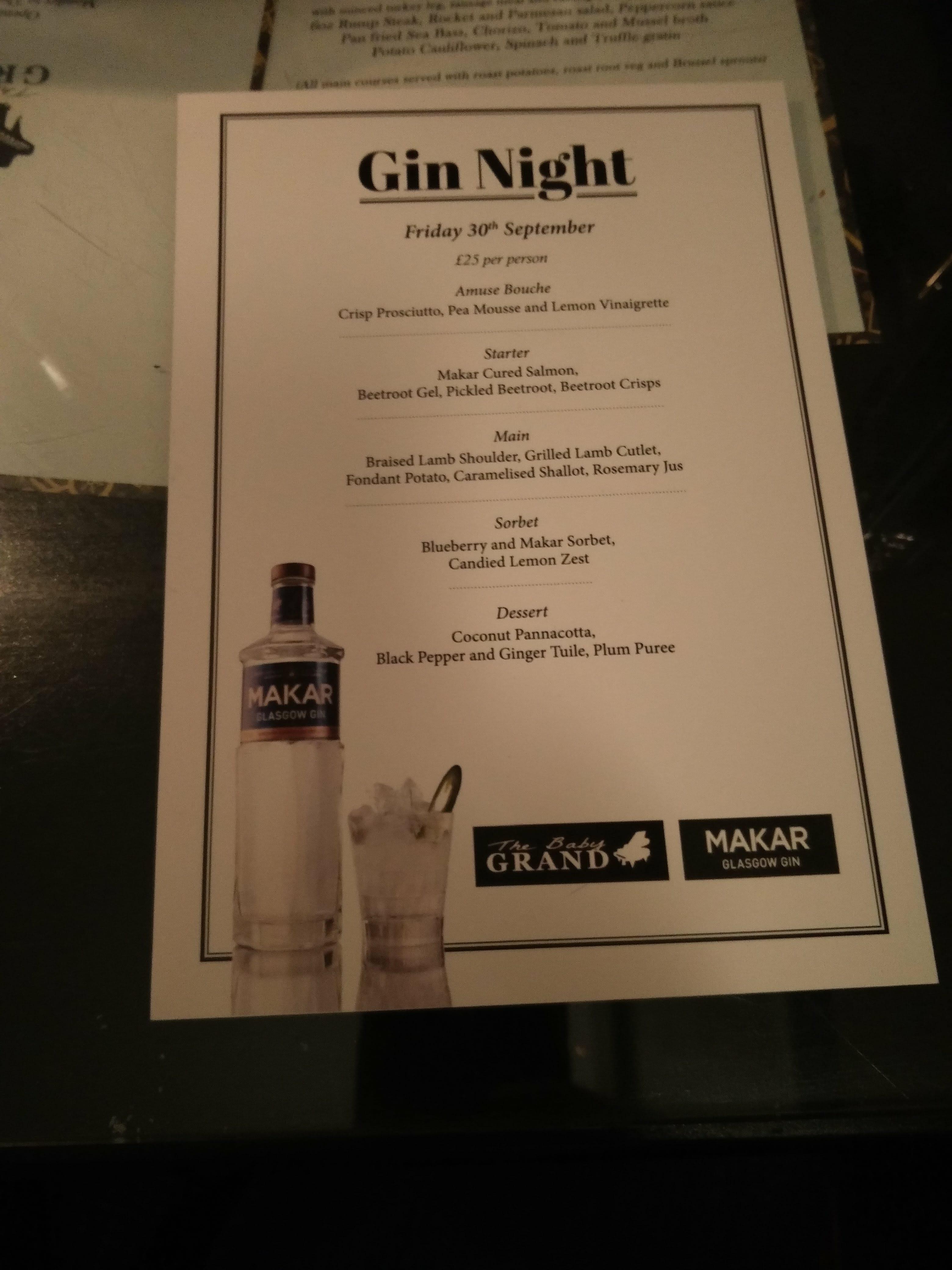 Review: Makar Gin Dinner, Baby Grand, Glasgow