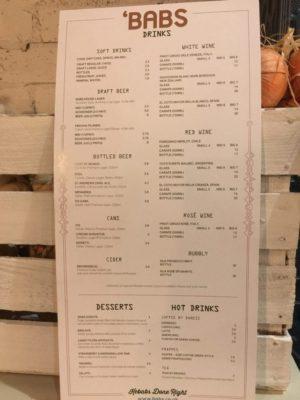 'Babs Glasgow kebabs menu