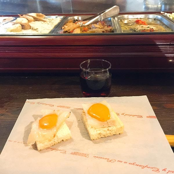 Casa Morales bacalao on toast with salmorejo, Seville