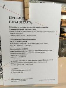 Las Azotea specials menu, Seville