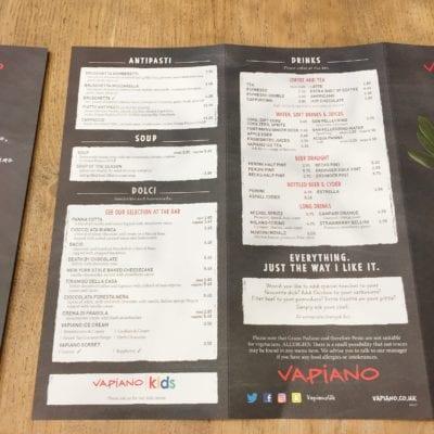 Vapiano London Glasgow Edinburgh restaurant italian Menu