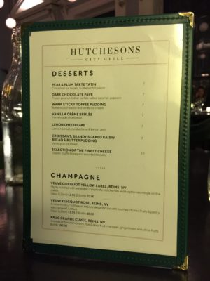 Hutchesons City Grill glasgow steak tails from the grill rusk and rusk Dessert menu