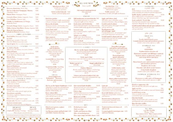 A la Carte menu the Ivy on the Square Edinburgh