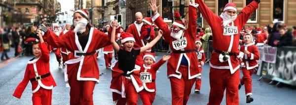 Glasgow city centre Christmas Santa dash