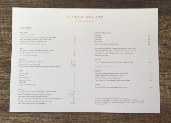 A la carte menu bistro Deluxe by Paul Tamburrini