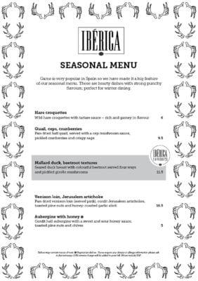 Iberica winter seasonal menu