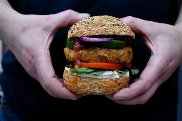 Quick vegan haggis burger