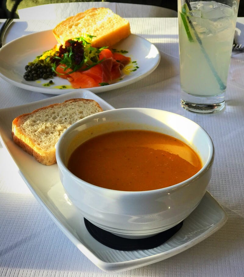 Butternut squash soup and salmon