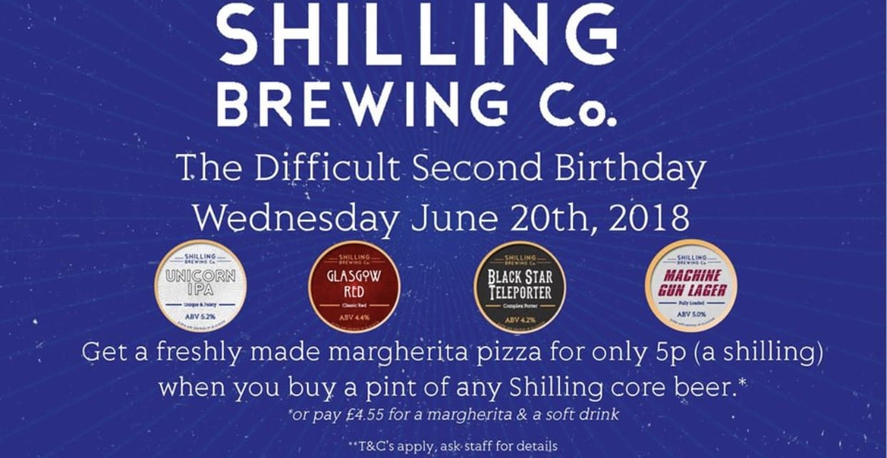 Shilling Brewing co 5p pizza birthday