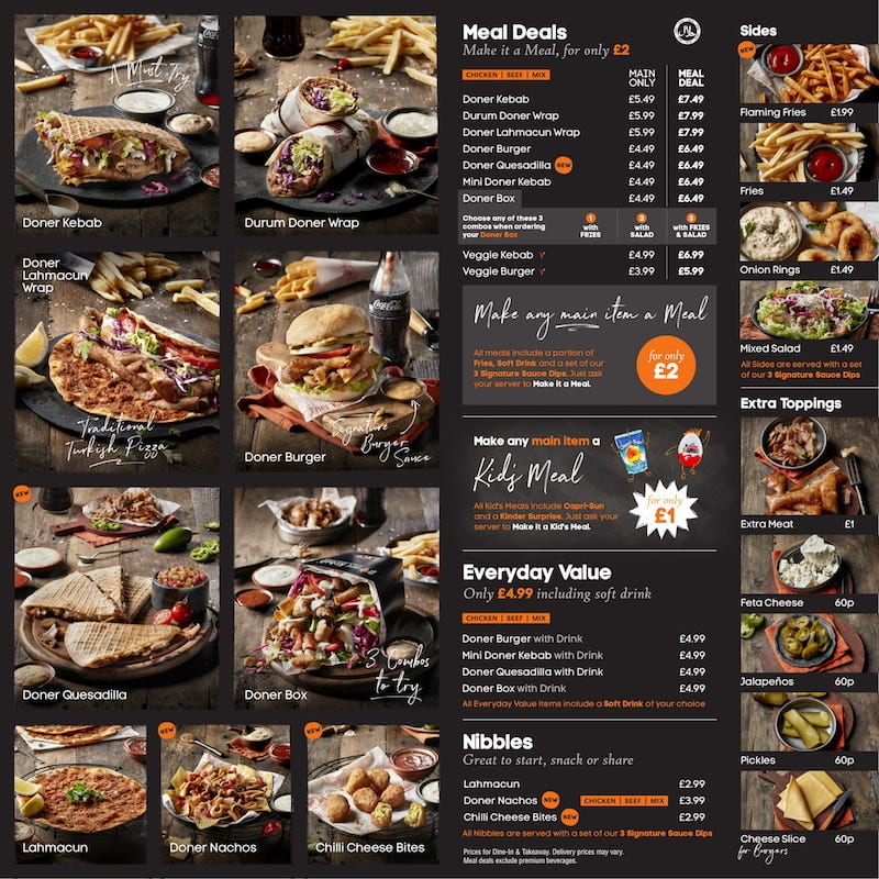 german doner kebab menu